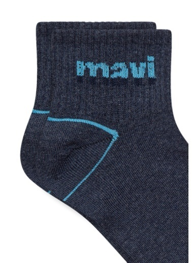 Mavi Mavi Logo Baskılı Mavi Soket Çorap Mavi